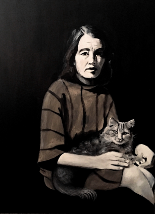 Christine Keeler with her cat
